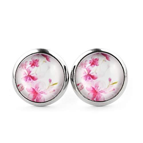 SCHMUCKZUCKER Blumen Ohrringe silber-farben Damen - Sommer Blüten - Modeschmuck Stecker rosa pink - 3 Farben - kreiert in Deutschland Weiss (12mm)