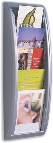 Fast Paper Quick Fit Prospekt-Wandhalter (5 x DIN A5 Fächer, B 228 x T 95 x 650 mm), Aluminium