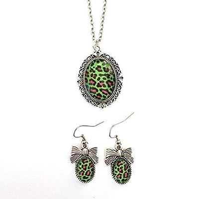 Parure léopard vert psychobilly : Collier et boucles d'oreilles cabochon en verre d'inspiration vintage