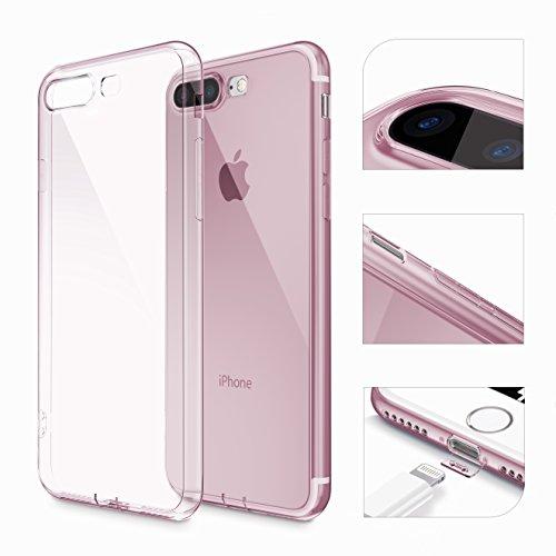 Urcover® Apple iPhone 7 Plus / 8+ [ KAMERASCHUTZ ] Handy Schutz-Hülle | TPU / Silikon Handyhülle Klar | Flexibel Ultra Slim Dünn | Smartphone Zubehör Back-Case | Soft Crystal Cover Schale Pink Transparent