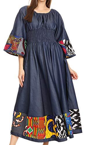 Sakkas 2181 - Abayomi Wax Afrikaner Ankara Chambray Bauer Mittelalterlich Lässig Langes Kleid - Chambray Multi/Tribal - OSP (Mittelalterliche Kleid Bauer)