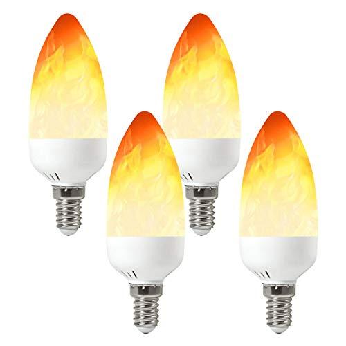GRANVOO 4-er Pack E14 LED Flammen Lampe 2W LED Leuchtmittel Flammenfarbe 25lm 28X2835 SMD AC 85-265V