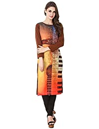 Binny Creation Brown Colour Boat Neck With Full Sleeve Printed Casual Kurtis For Women