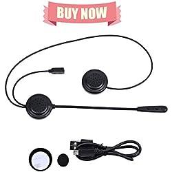 UKSoku E200 Bluetooth Écouteurs Intercom Moto Casque Headphone Imperméable Headset Interphone Talkie-Walkie for 2 Riders 300m Communication Full-Duplex avec Microphone AUX Voice Input GPS MP3