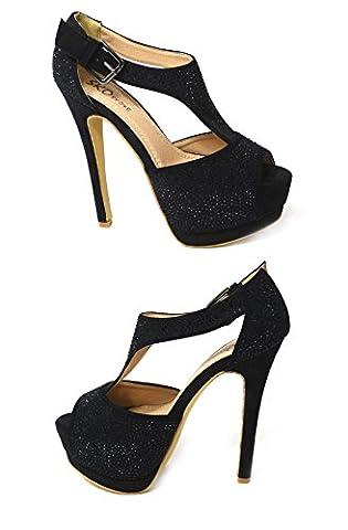 LADIES WOMENS LOW MID HIGH HEEL ANKLE STRAP SLIP ON COURT SHOES PUMPS SANDALS SIZE (UK4/EUR37/US6, Black (01-19))