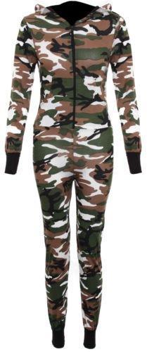 Femmes Combinaison militaire pour femme Imprimé Tartan perche Combinaison à capuche tout-en-un en 8 Marron - Green Camoufledge