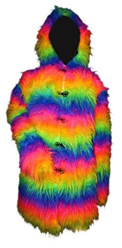 UV Neon flauschiges Fell Mantel mit Pelz - Multi - Rainbow