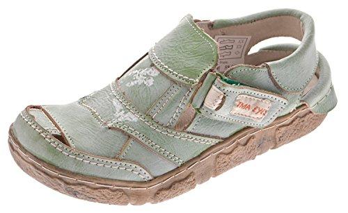 TMA Damen Sandaletten Leder Schuhe Comfort Sandalen Echtleder TMA 7668 Halbschuhe Gr 36-42 Grün