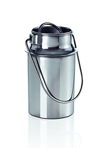 Milchkanne Transportkanne Kanne Edelstahlkanne 1 Liter mit Steckdeckel und Tragebügel