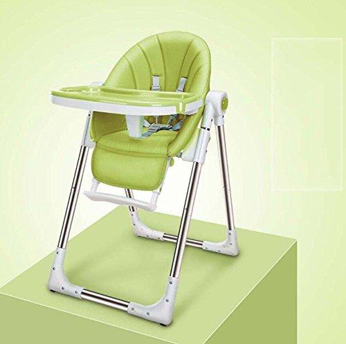 TTrar tragbarer Klappstuhl Portable Baby Hochstuhl, Contempo Hochstuhl, Faltbarer Multifunktions-Esszimmerstuhl, abnehmbares Tablett, Höhenverstellung Praktisch und praktisch (Farbe : Grün) -