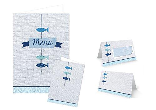 DIY Tisch-Deko Set 25-30 Gäste türkis blau weiß maritim FISCHE: 32 Tischkarten + 12 Menükarten für Hochzeit, Geburtstag, Kommunion, Taufe