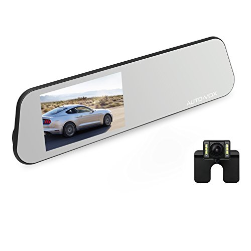 AUTO-VOX Dashcam et Caméra de Recul 2 en 1, 6 LEDs Etanche +4.5 Pouces HD 1080P IPS Ecran Tactile Super Vision Nocturne (Langue optionnelle)