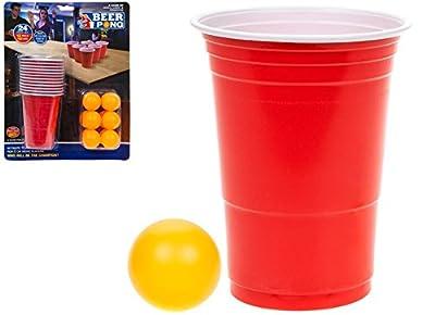 24PC Bière Pong Lot de 12tasses et 12balles de tournoi kit adultes Ensemble de jeu à boire
