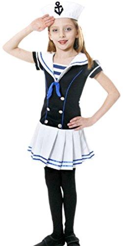 (Karnevalsbud - Mädchen Kostüm Sailor, 134/140, Blau)
