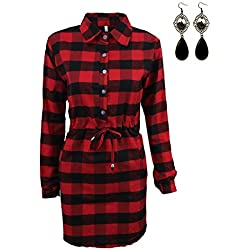 Sitengle Mujer Camisas de Vestidos Manga Larga Escocesa Blusas Tops T-shirt