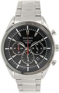 Seiko - SSB089P1 - Montre Homme - Quartz Chronographe - Cadran Noir - Bracelet Acier Gris