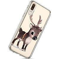 Handytasche Huawei P20 Weihnachten Handyhülle Durchsichtig Schutzhülle Silikon Dünn Case Transparent Handyhüllen Kirstall Clear Case Etui TPU Bumper Schale,Braun Hirsch