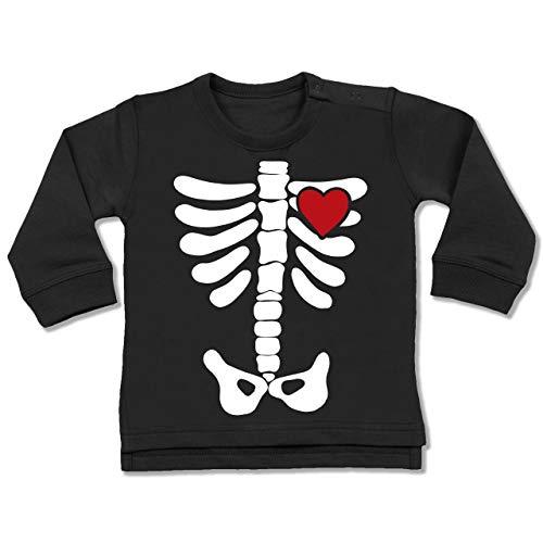 Shirtracer Anlässe Baby - Skelett Herz Halloween Kostüm - 18-24 Monate - Schwarz - BZ31 - Baby ()
