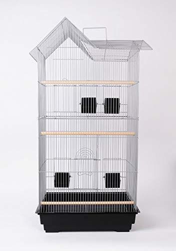TLW direkt Vogelkäfig Vogelhaus Wellensittichkäfig Kanarien Käfig Exotenkäfig Papageienkäfig Nymphensittichkäfig Voliere XL 94 cm Farbe Grau - Silber metallic incl Zubehör -