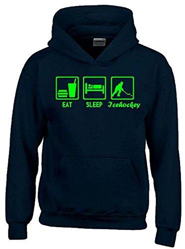 EAT SLEEP Icehockey Kinder Sweatshirt mit Kapuze HOODIE schwarz-green, Gr.152cm