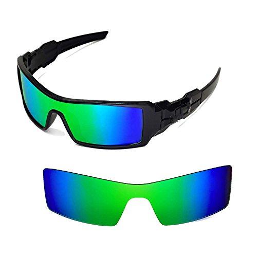 Walleva Ersatzgläser für Oakley Oil Rig Sonnenbrille - Mehrfache Optionen (Emerald Mirror Coated - Polarisiert)