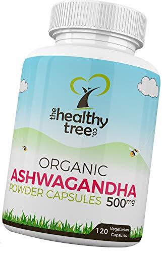 Gélules de Ashwagandha BIO - Herbe ayurvédique pour l'esprit et le corps avec withanolides (5%) - Ashwagandha Gélules par TheHealthyTree Company (500mg x 120)