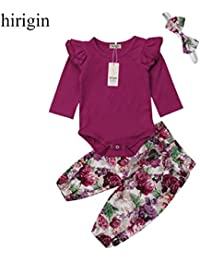 6d6e84aa4 Baby Girls Cotton Ruffle Romper Top Floral Leggings Pants 3pcs Clothes Sets  (Purple 12-