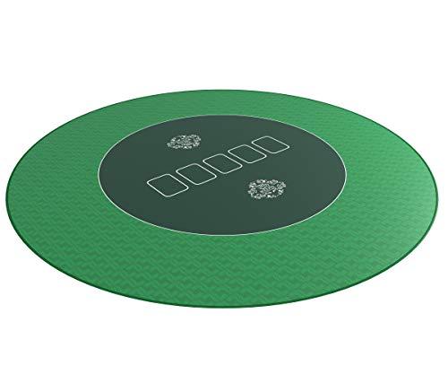 Bullets Playing Cards - Runde Profi Poker Tischauflage 100cm - Pokertuch - Pokerteppich - Pokermatte - grün