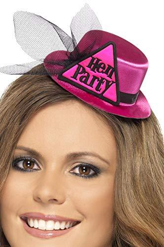 Smiffys Damen Junggesellinnenabschied Party Hut mit Schleier auf Haarklammer, One Size, Pink, 26853