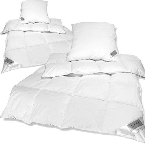 nxtbuy Bettenset Comfort 4tlg - 2X Federn Daunen Bettdecke 135x200 cm und 2X Kopfkissen 80x80 cm