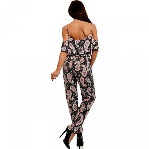 Damen Jumpsuit Overall Strandoverall Bedruckt Schulterfrei Mehrfarbig/Model6