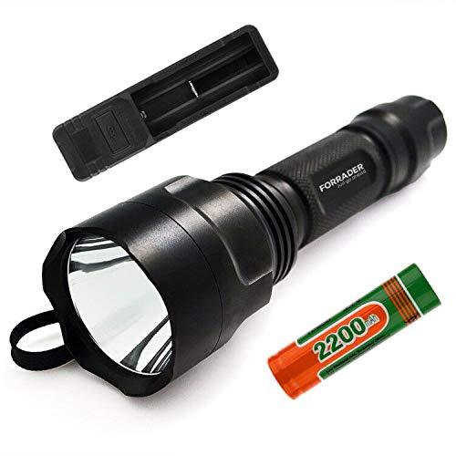 Forrader C8CREE XM-L2U3Superhelle LED-Taschenlampe mit Druckknopf, gesteuert mit 5 Modi, schwarz, schwarz C8 Led