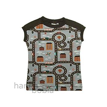 Shirt in Größe 104 mit Straßenlandschaft vorne und einfarbig braun hinten, Bündchen braun, 95% Baumwolle, 5% Elasthan