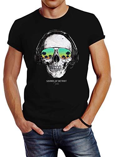 Neverless® Herren T-Shirt Totenkopf Kopfhörer Musik Party Skull Sonnenbrille Schädel Sounds of Detroit Music Slim Fit schwarz XL (Skull Sonnenbrille)