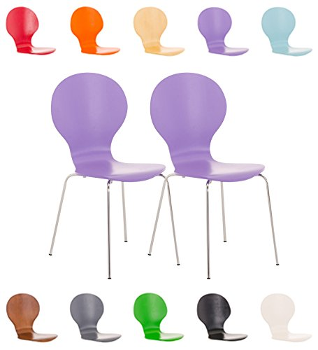 CLP 2x Stapel-Stuhl DIEGO, Holzsitz, ergonomisch geformt, Sitzfläche, robust, pflegeleicht, bis zu 12 Farben wählbar lila