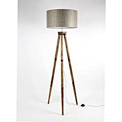 Decorative Drum shape Thick Textured Dark Color Fabric Shade Handmade Wooden Tripod Floor Lamp