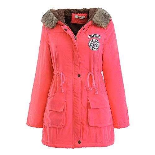 acke,Wintermantel Lange Daunenjacke Jacke Outwear Winter Warm Trenchcoat mit Abnehmbarer Pelzkragen Parka Outwear Mäntel (L, Z-1 Wassermelonen Rot) ()