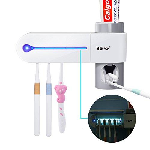 MECO Automatische Zahnpasta Spender, UV-Zahnbürstenhalter + 5Zahnbürste Sterilisator Halter Wand montiert mit Aufkleber für Oral-B Zahnbürste Frauen Kids Baby Badezimmer (Zahnbürstenhalter Wand Montiert)