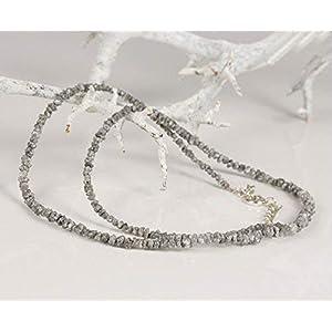 Diamanten Collier hochwertige Goldschmiedearbeit aus grauen Rohdiamanten (Sterling Silber 925) Damenkette Damen Collier…