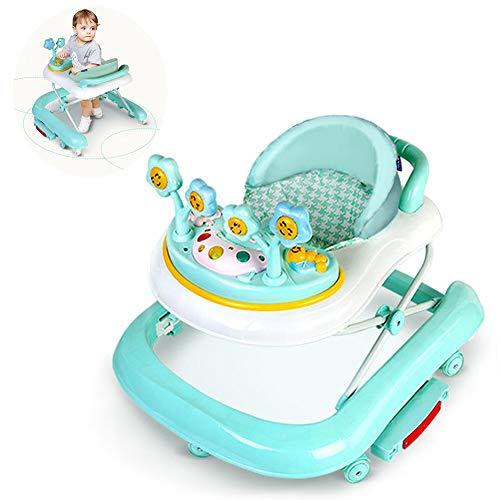 LJXWYQ Lauflernhilfe Player - Multifunktionaler Variabler 2-in-1-Schaukelstuhl, U-förmig, zusammenklappbar mit Musik, Überrollschutz, 3 höhenverstellbare Laufhilfen für Babys von 6 bis 18 Monaten,C