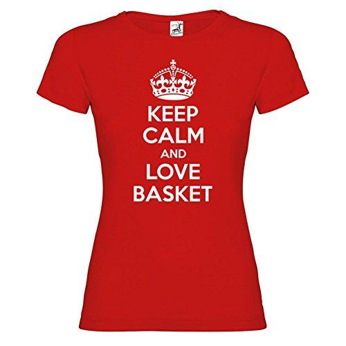 Bikerella T-Shirt Manica Corta Donna Keep Calm and Love Basket Rosso/Bianco