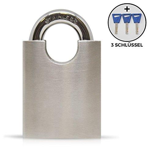 URBAN ZWEIRAD Vorhängeschloss aus Edelstahl (Stainless Steel) mit 3 Schlüsseln zur universellen Nutzung - Fahrradschloss, Türschloss, Kettenschloss - ca. 8,5 x 5 x 2 cm (H x B x T)