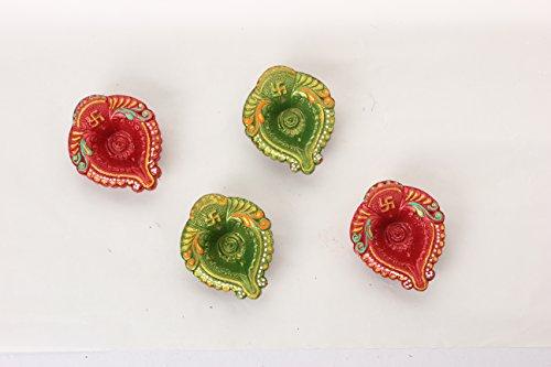 Geschenke Ideen Patrick Tag St (Store Indya handgefertigt Öllämpchen Terracotta wiederverwendbar Diwali Diyas Blattform rot und grün (Set von 4) Diwali Diya Lampe/Diwali Dekoration/Diwali Geschenke/Diwali Zubehör/Diwali Dekoration für Türen/Tür Décor/Diyas für Räucherstäbchen Pooja/Diya)