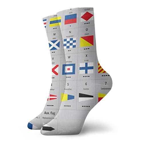 Bag hat International Maritime Signal Nautical Flags Morse Education Flag Bildungsflagge Socken Frauen & Männer Socken Fußball Socke Sport Tube Strümpfe Länge 11,8 Zoll -
