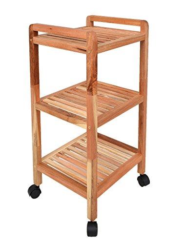 Roll-aus-regal (Roll Regal Standregal mit Rollen Höhe 77 cm aus Walnuss Massivholz für Bad, Wohnzimmer, Sauna, Flur, Diele, Küche, Büro und Kinderzimmer)