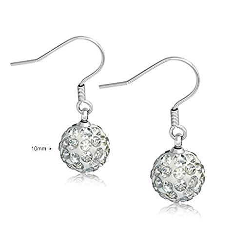 925 Sterling Silver drop earrings handmade with crystal (10mm Crystal Spheres)