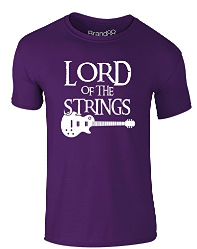 Brand88 - Lord of the Strings (Guitar), Erwachsene Gedrucktes T-Shirt Lila/Weiß