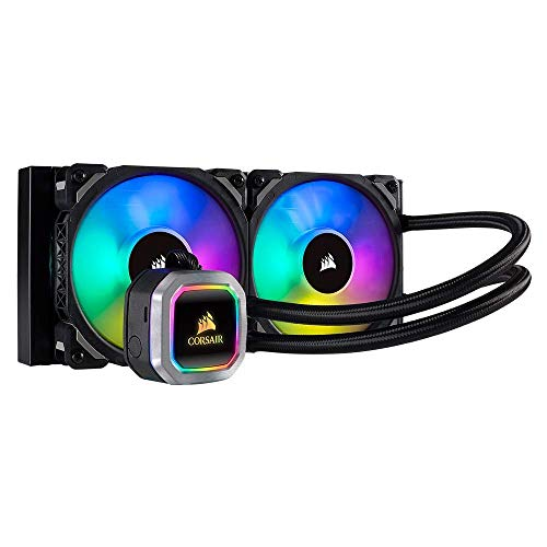 Corsair Hydro Series H100i RGB Platinum Wasserkühlung/CPU-Flüssigkeitskühlung (240mm Radiator, Zwei ML Pro 120mm RGB PWM Lüfter, Erweiterte softwaregesteuerte RGB Beleuchtung) schwarz