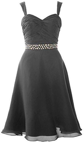 MACloth Elegant Straps Chiffon Cocktail Dress Short Wedding Party Formal Gown gray