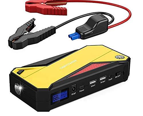 SKINGO Démarreur de Voiture Portable, Batterie de Secours avec Double Sortie de Charge USB, Lampe de Poche à Del et Boussole